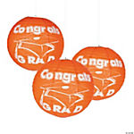 Orange Congrats Grad Paper Lanterns