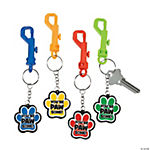 Paw Print Motivational Backpack Clip Key Chains