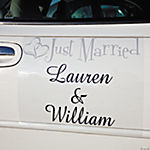 "Personalized ""Just Married"" Two Hearts Car Door Cling"