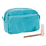 Personalized Light Blue Waffle Weave Cosmetic Bag