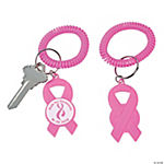 Personalized Pink Awareness Ribbon Bracelet Key Chains