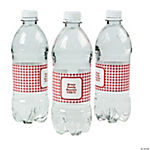 Personalized Red Gingham Water Bottle Labels