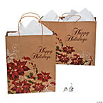 Poinsettia Kraft Paper Bag Assortment