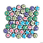 Polymer Black-Flowered Disc Beads - 12mm