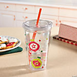 Printed Holiday Tumbler with Straw