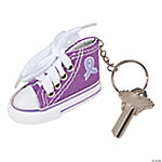 Purple Awareness Ribbon Sneaker Key Chains