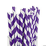 Purple Striped Paper Straws