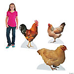 Realistic Rooster & Chicken Stand-Up Set