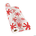 Red & White Snowflake Tablecloth Roll