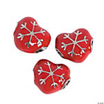 Red Heart Snowflake Large Hole Beads