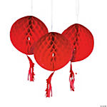 Red Honeycomb Tissue Balls with Tassel