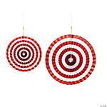 Red Striped Hanging Fans
