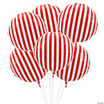 Red Striped Mylar Balloons