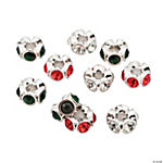 Rhinestone Christmas Large Hole Beads - 13mm x 4mm