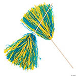 Royal Blue & Gold Two-Tone Spirit Pom-Poms