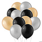 Silver, Gold & Black Latex Balloon Assortment