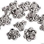 Silvertone Flower Cone Bead Caps - 8mm