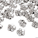 Silvertone Metal Flower Beads - 8mm