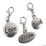 Silvertone Word Dangling Charms