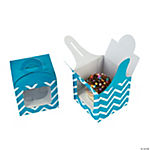 Turquoise Chevron Cupcake Boxes with Handle