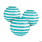 Turquoise Striped Paper Lanterns