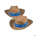 Western Cowboy Hats with Blue Bandana