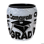 White Congrats Grad Trash Can Cover
