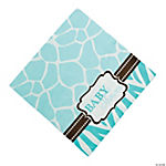 Wild Safari Blue Baby Shower Luncheon Napkins