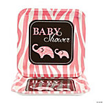 Wild Safari Pink Baby Shower Square Dinner Plates