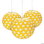 Yellow Polka Dot Paper Lanterns