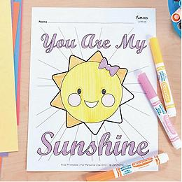 You Are My Sunshine Coloring Page