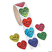 Prism Smile Face Heart Roll of Stickers