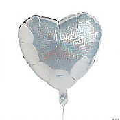 Silver Prismatic Heart Mylar Balloon