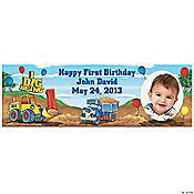 1st Birthday I Dig Being 1 Custom Photo Banner