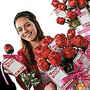 Valentine Chocolate Rose Tags Idea