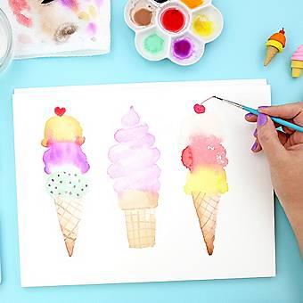 How to Paint Watercolor Ice Cream Cones