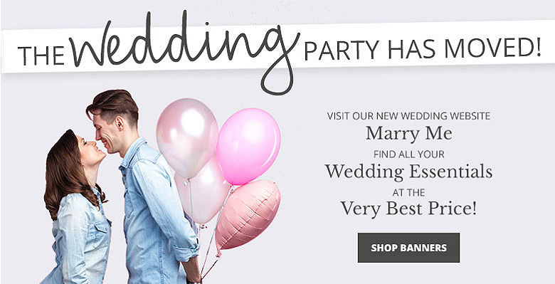 Shop Banners - Visit our new wedding website Marry Me. Find all your wedding essentials at the very best prices.