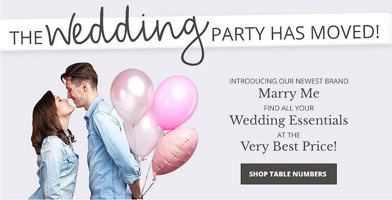 Shop Table Numbers - Visit our new wedding website Marry Me. Find all your wedding essentials at the very best prices.