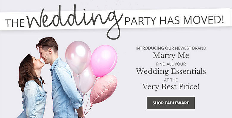 Shop Tableware - Visit our new wedding website Marry Me. Find all your wedding essentials at the very best prices.