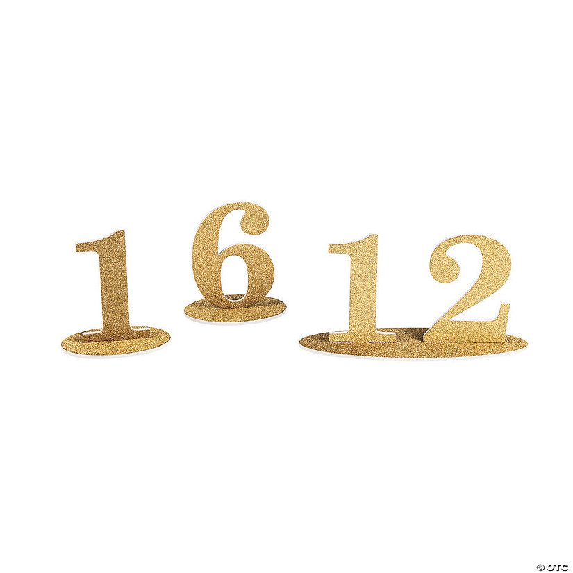 1 - 12 Gold Glitter Table Numbers