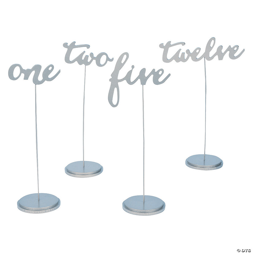 1 - 12 Silver Calligraphy Table Numbers