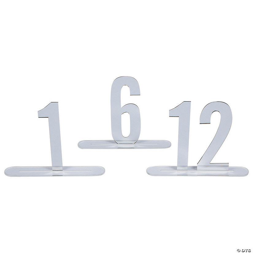 1 - 12 Silver Mirror Table Numbers