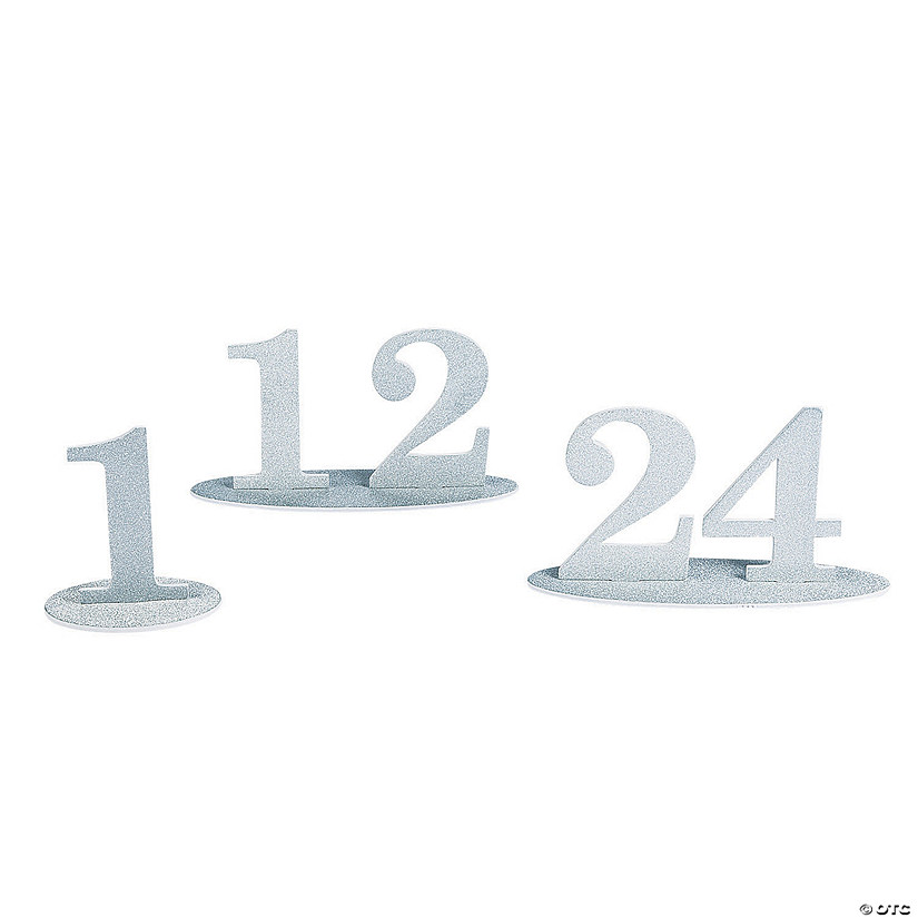 1 - 24 Silver Glitter Table Numbers