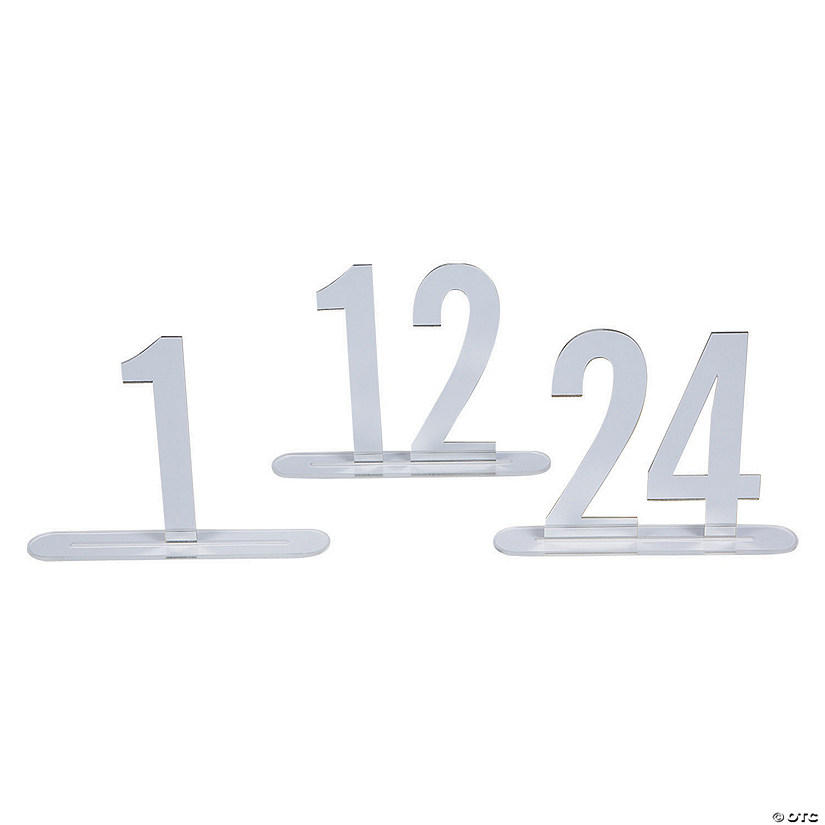 1 - 24 Silver Mirror Table Numbers