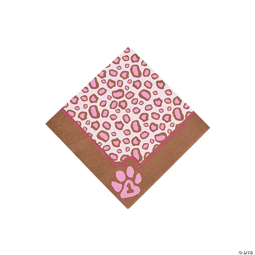 1st Birthday Cheetah Beverage Napkins