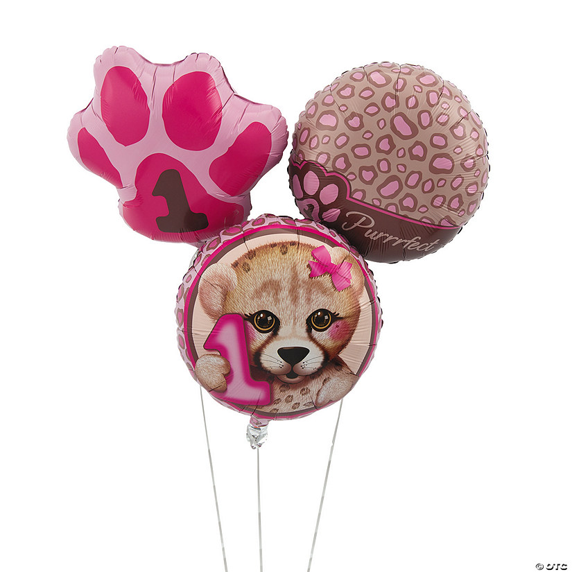 1st Birthday Cheetah Mylar Balloons