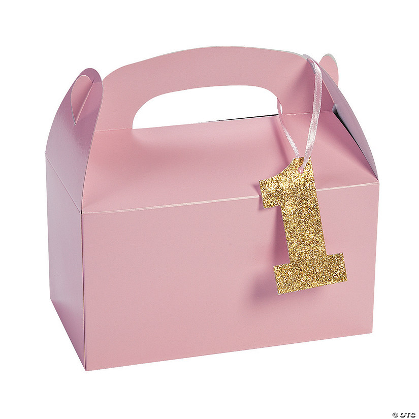 1st Birthday Light Pink Birthday Favor Boxes with Tag