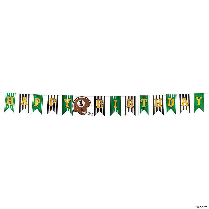 1st Birthday Touchdown Birthday Vinyl Pennant Banner