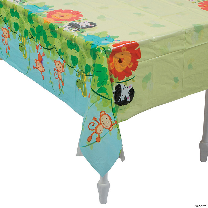 1st Birthday Zoo Plastic Tablecloth
