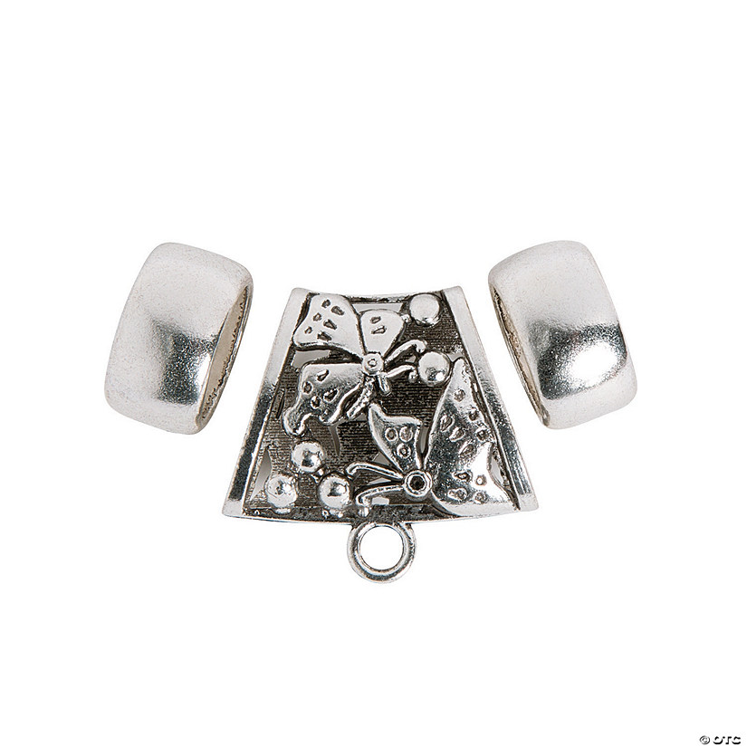 3-Piece Silvertone Scarf Ring Set